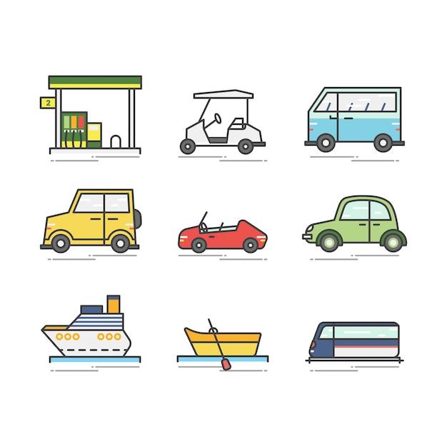 Conjunto de vários veículos e barcos Vetor Premium