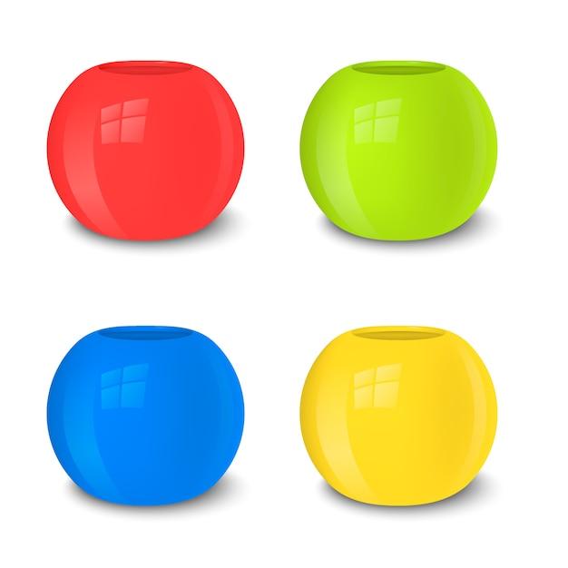 Conjunto de vaso vazio realista, cores brilhantes Vetor Premium