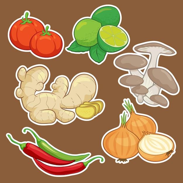 Conjunto de vegetais bonito dos desenhos animados Vetor Premium