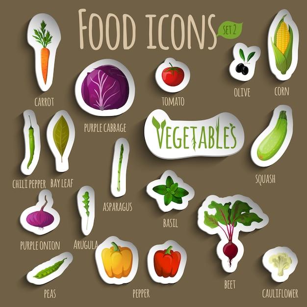 Conjunto de vegetais de comida Vetor grátis
