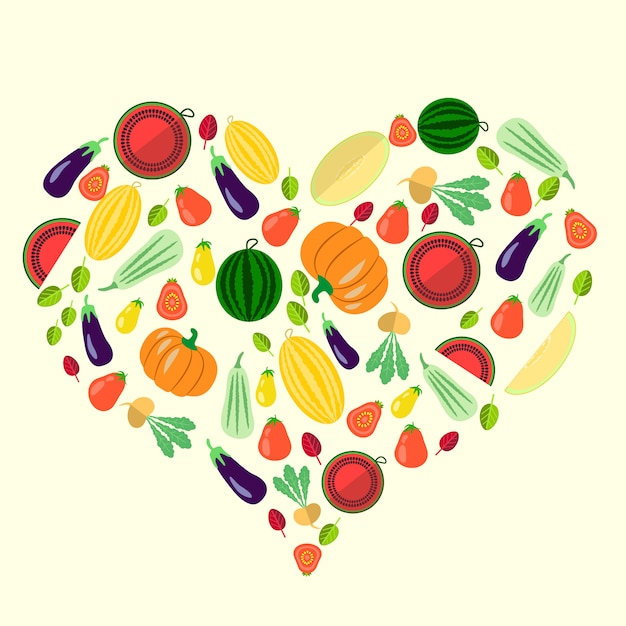 Conjunto de vegetais em forma de coração Vetor Premium