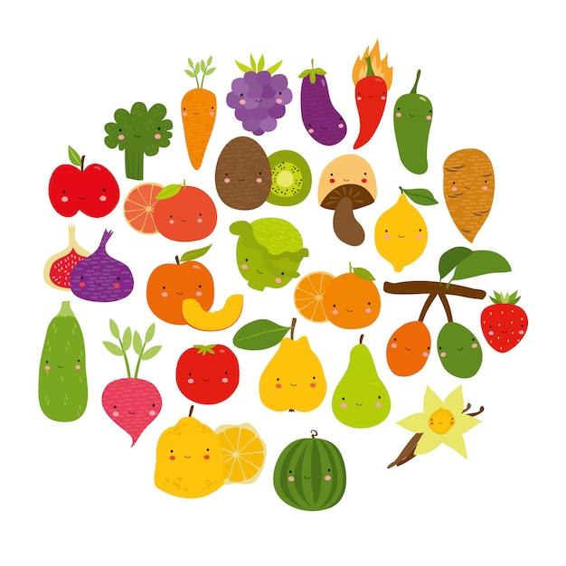 Conjunto de vegetais frutas lindas Vetor grátis