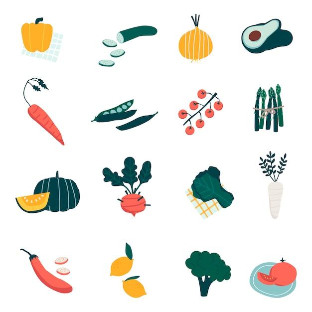 Conjunto de vegetais orgânicos coloridos vetores Vetor grátis
