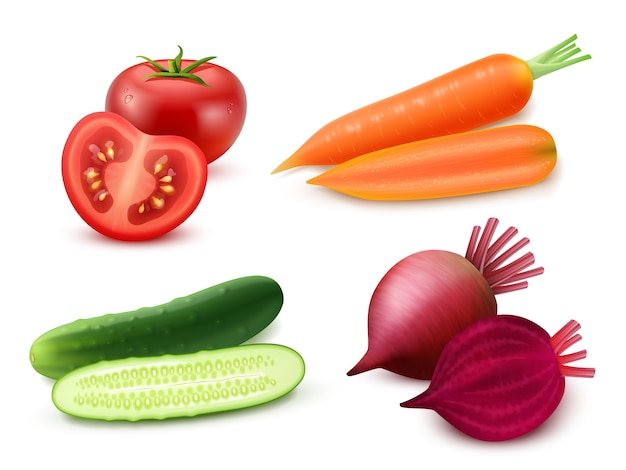 Conjunto de vegetais realistas Vetor grátis