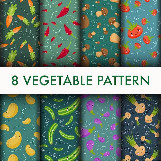 Conjunto de vegetais sem costura padrão. Vetor grátis