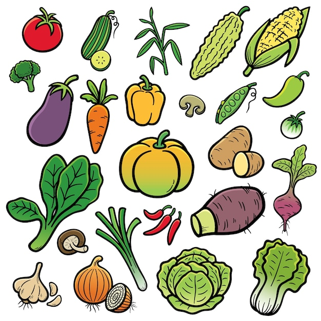 Conjunto de vegetais Vetor Premium
