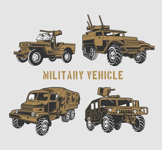 Conjunto de veículo militar Vetor Premium