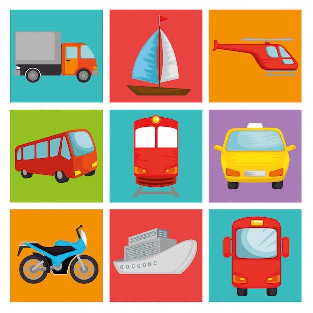 Conjunto de veículos de transporte Vetor grátis