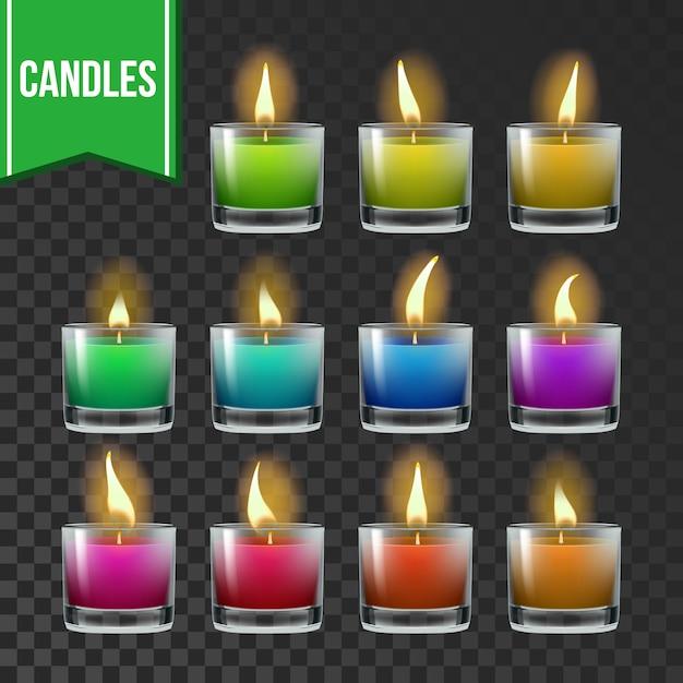 Conjunto de velas Vetor Premium