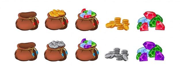 Conjunto de velhos sacos, bolsas, vazios e cheios de ouro, moedas, brilhantes, tesouros. Vetor Premium