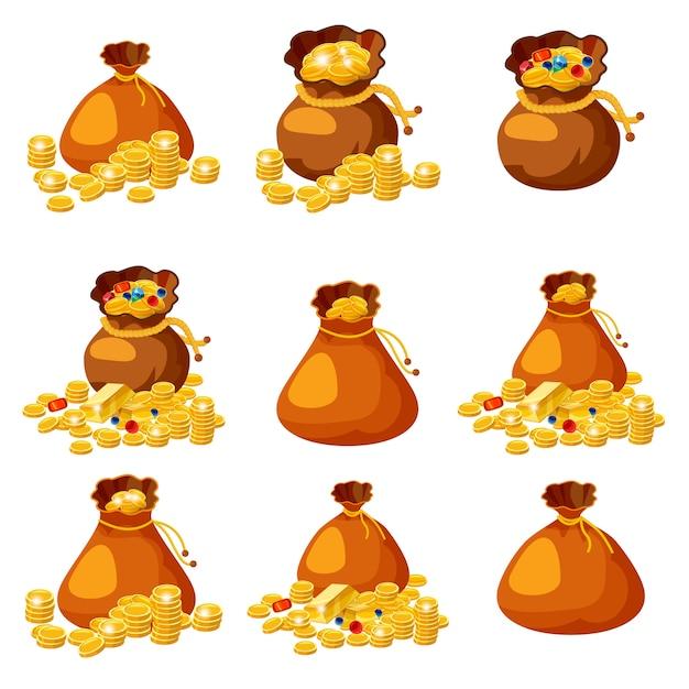Conjunto de velhos sacos, bolsas, vazios e cheios de ouro para jogos em estilo cartoon Vetor Premium