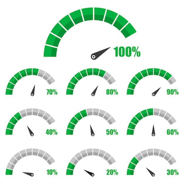 Conjunto de velocímetro ou medidor de classificação sinais infográfico calibre elemento com porcentagem Vetor Premium