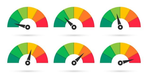 Conjunto de velocímetros coloridos. escala com seta. Vetor Premium