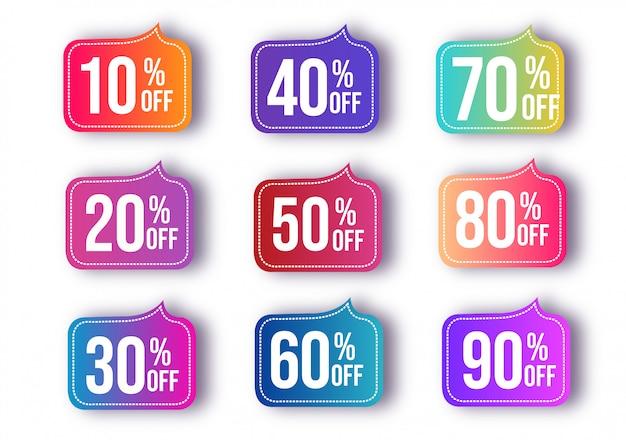 Conjunto de venda abstrata de desconto Vetor Premium