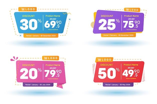 Conjunto de venda de banners de desconto Vetor Premium
