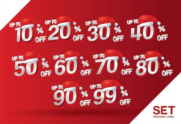 Conjunto de venda de desconto de natal Vetor Premium
