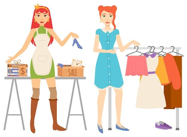Conjunto de venda de loja de roupas e livros Vetor Premium