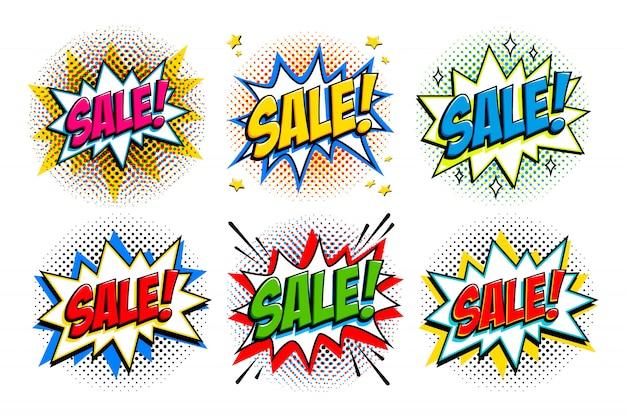 Conjunto de venda sexta-feira negra. banners de modelo de estilo cômico. 4 inscrições de venda em fundos pretos e vermelhos. Vetor Premium