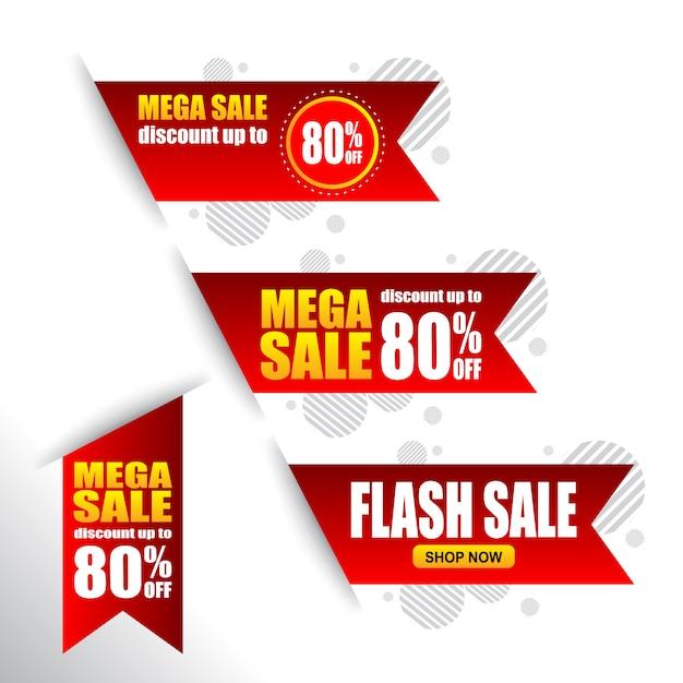 Conjunto de venda tag da bandeira de desconto Vetor Premium