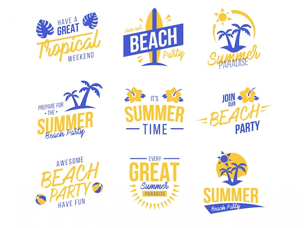 Conjunto de verão de logotipos e emblemas Vetor Premium