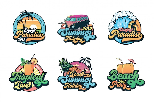 Conjunto de verão vintage emblemas etiquetas, emblemas e logotipo Vetor Premium