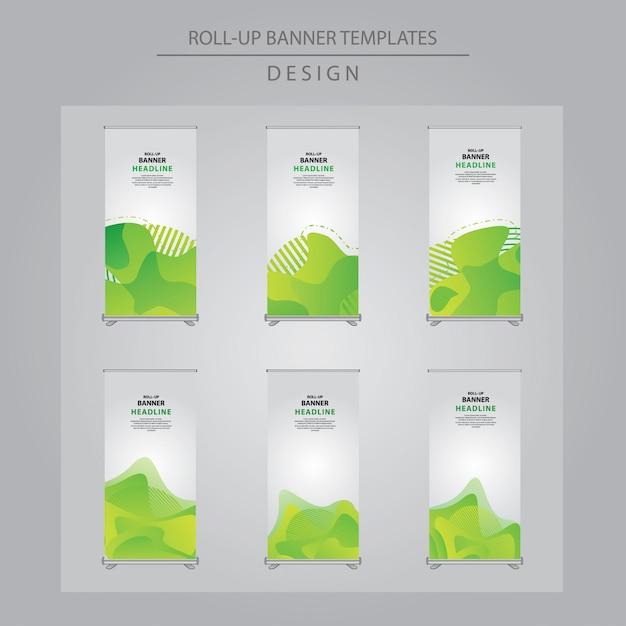 Conjunto de verde abstrato arregaçar desenho da bandeira. Vetor Premium