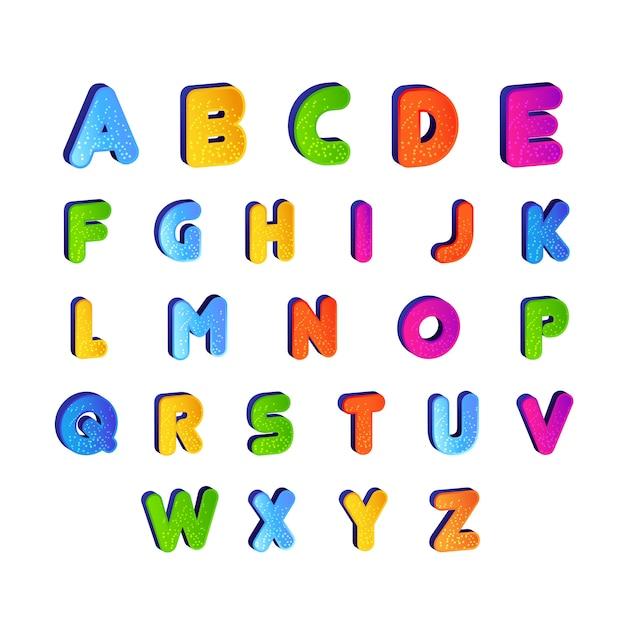 Conjunto De Vetor De Alfabeto Fonte Infantil Em Design Colorido
