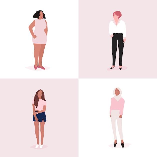 Conjunto de vetor de corpo inteiro de mulheres fortes Vetor grátis