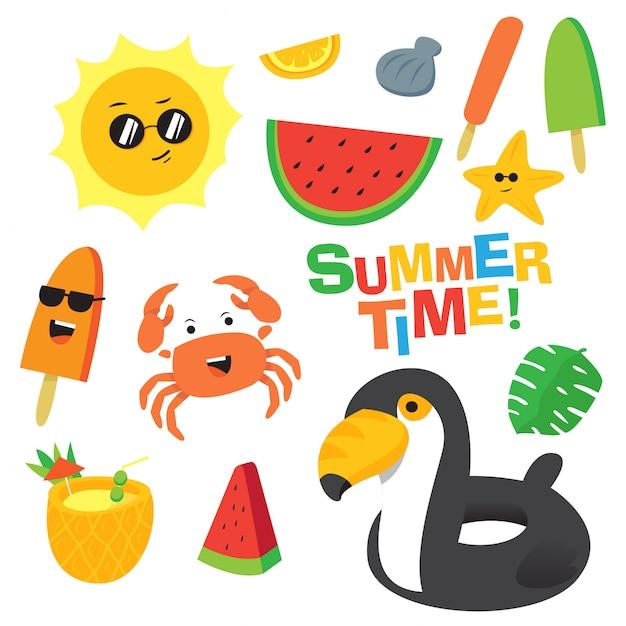 Conjunto de vetor de desenhos animados de horário de verão colorido Vetor Premium