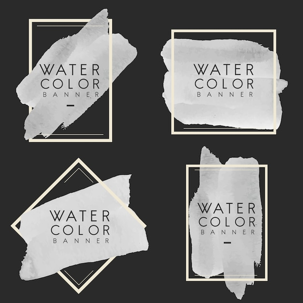 Conjunto de vetor de design cinza aquarela banner Vetor grátis