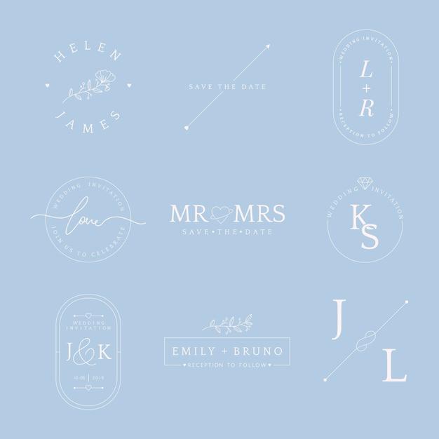 Conjunto de vetor de design de distintivo de convite de casamento Vetor grátis
