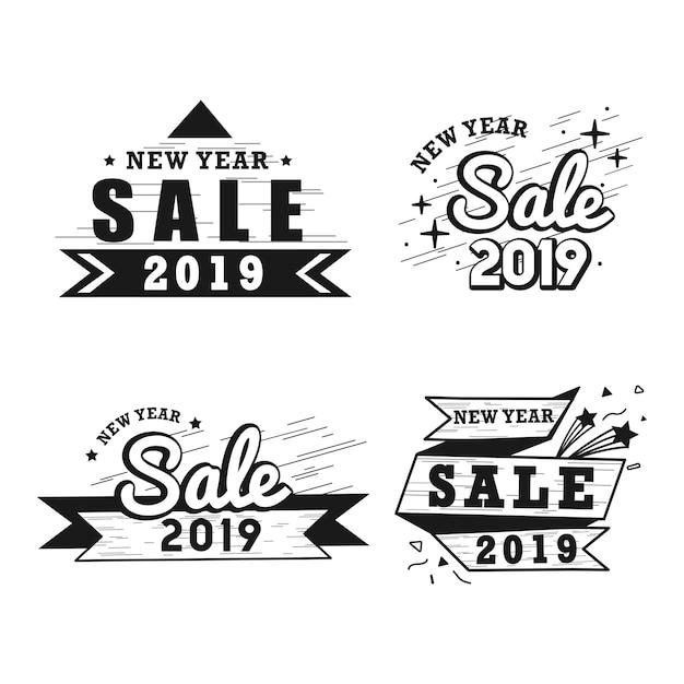 Conjunto de vetor de distintivo de venda de ano novo Vetor grátis