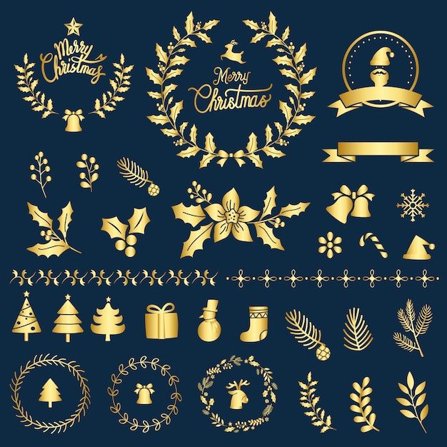 Conjunto de vetor de elementos de design de natal Vetor grátis