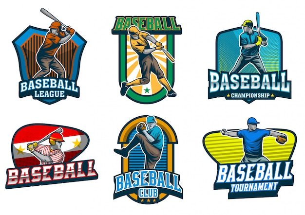 Conjunto de vetor de emblema de jogador de beisebol Vetor Premium