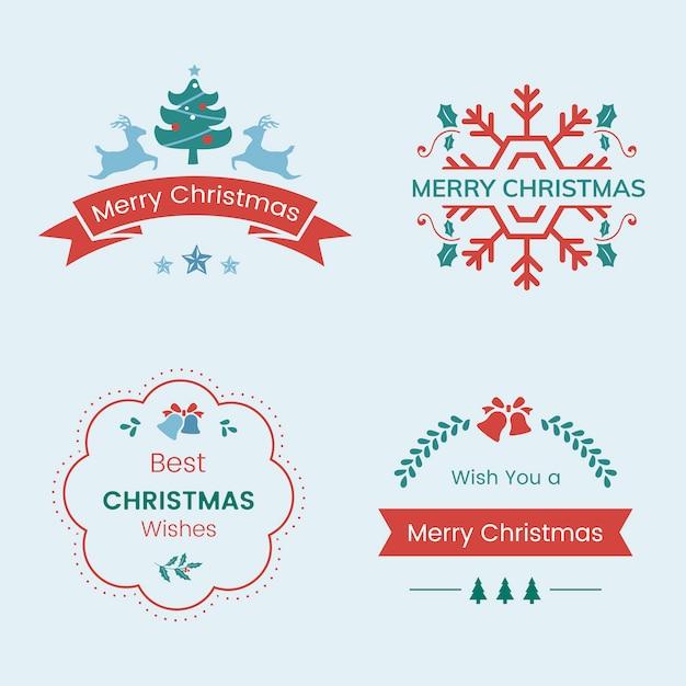 Conjunto de vetor de emblemas de natal Vetor grátis