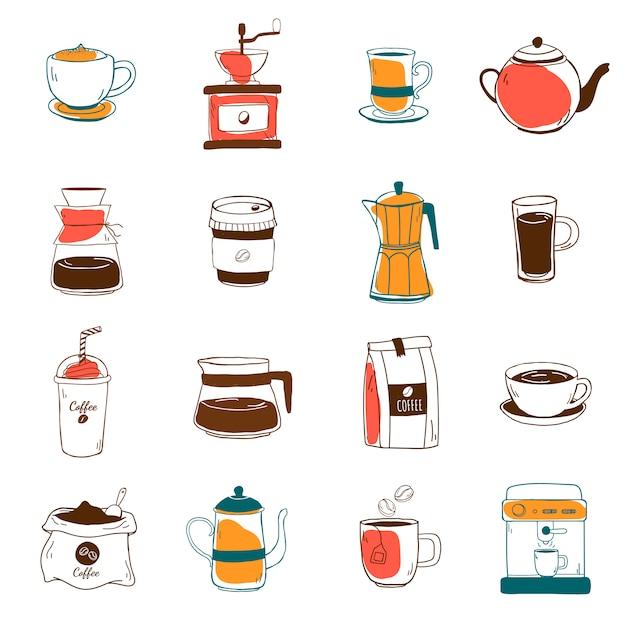 Conjunto de vetor de ícones de café Vetor grátis