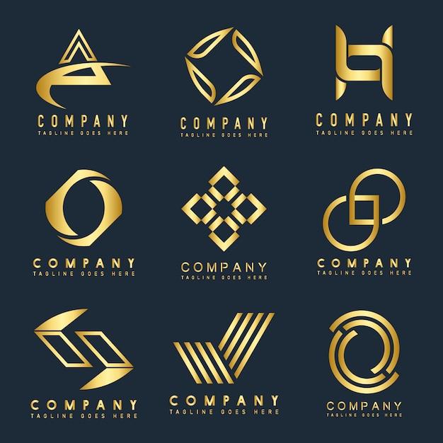 Conjunto de vetor de idéias de design de logotipo de empresa Vetor grátis