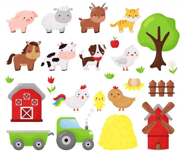 Conjunto de vetor de kawaii dos desenhos animados de animais da fazenda: ovelha, vaca, cachorro, gato, cavalo, cabra e galinha. objetos de fazenda, celeiro e moinho de vento. ilustração para crianças. Vetor Premium