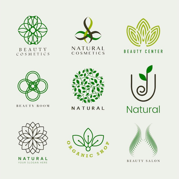 Conjunto de vetor de logotipo de cosméticos naturais Vetor grátis