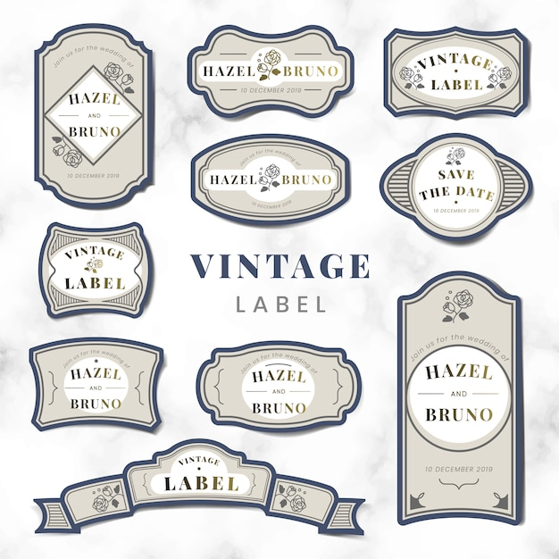 Conjunto de vetor de rótulo de convite de casamento vintage Vetor grátis