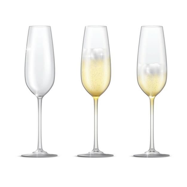 Conjunto de vetor realista de taças de champanhe espumante. copo vazio, copo cheio e meio cheio de champanhe. Vetor Premium
