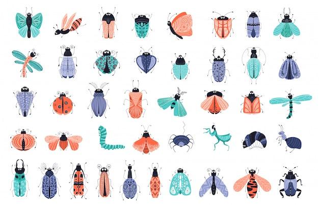 Conjunto de vetores - cartoon bugs ou besouros, ícones de borboletas Vetor Premium