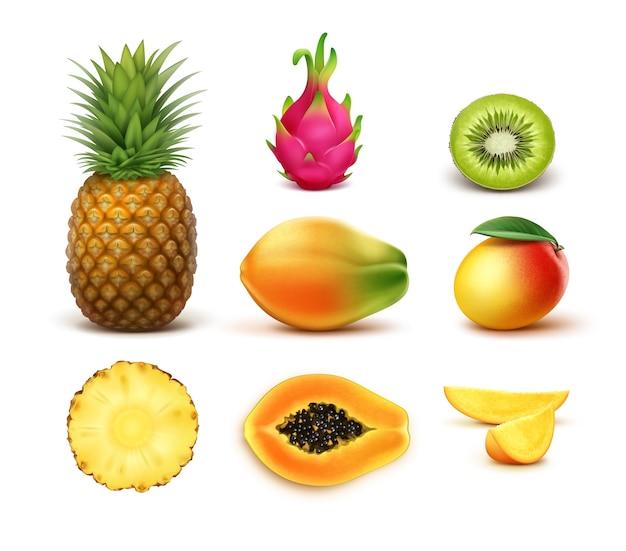 Conjunto de vetores de abacaxi de frutas tropicais inteiras e meio cortadas, kiwi, manga, mamão, dragonfruit isolado no fundo branco Vetor grátis