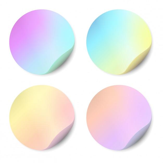 Conjunto de vetores de adesivos em branco isolados. autocolantes redondos, cor, holográfico Vetor Premium