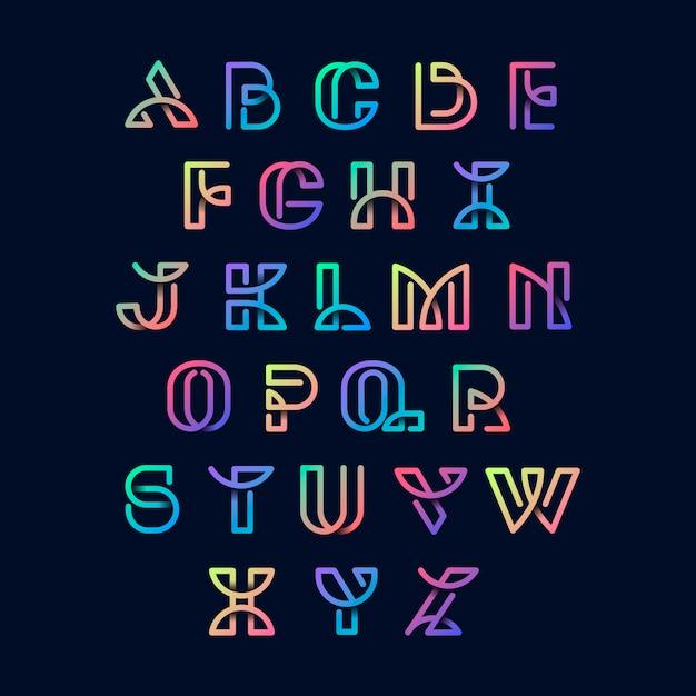 Conjunto de vetores de alfabetos retrô colorido Vetor grátis