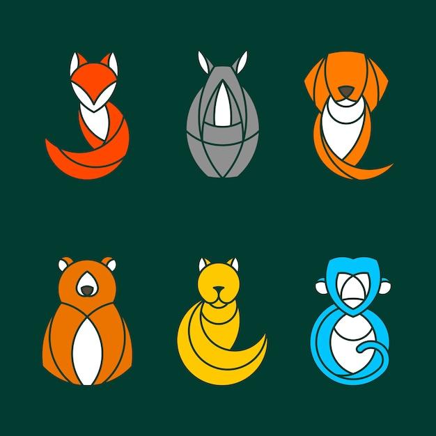 Conjunto de vetores de animais coloridos Vetor grátis