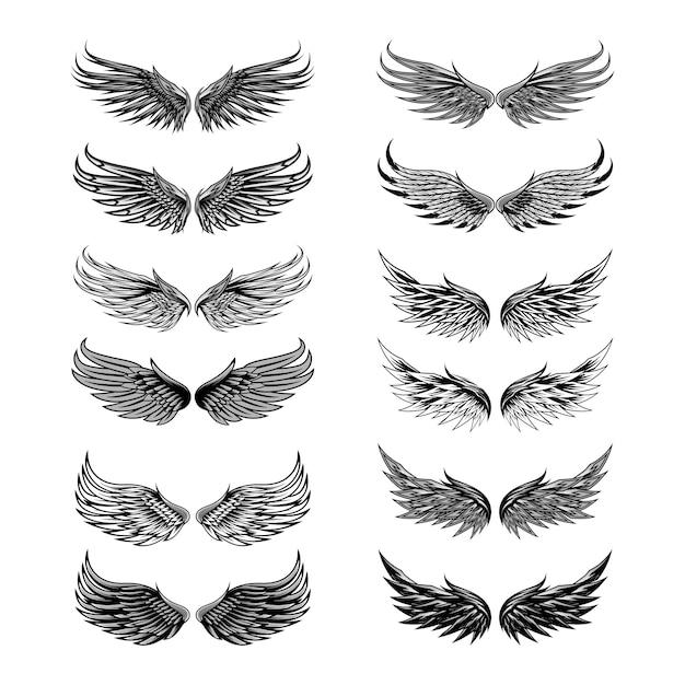Conjunto de vetores de anjo de asas Vetor Premium