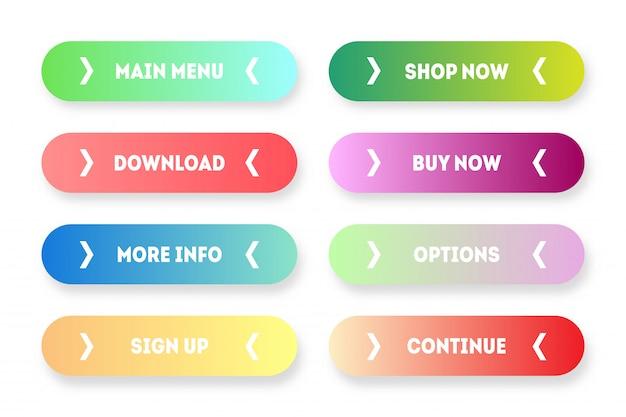 Conjunto de vetores de app gradiente moderno ou botões de jogo. botão web de interface de usuário com setas: menu, compre agora, compre, faça o download etc. Vetor Premium