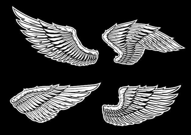 Conjunto de vetores de asas Vetor Premium