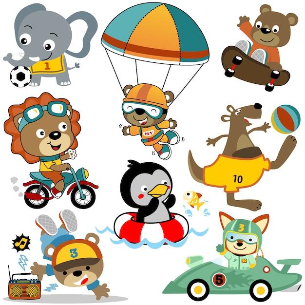 Conjunto de vetores de atividades de desenho animado de animais fofos Vetor Premium